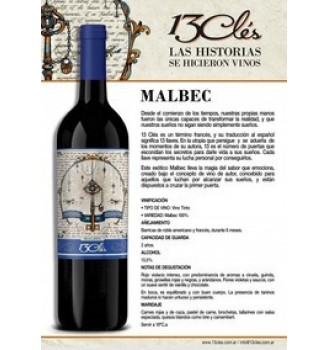 13 CLÉS MALBEC RESERVA 750CC