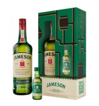 ESTUCHE JAMESON IRISH WHISKEY 750CC + REGALO MINIATURA JAMESON IPA