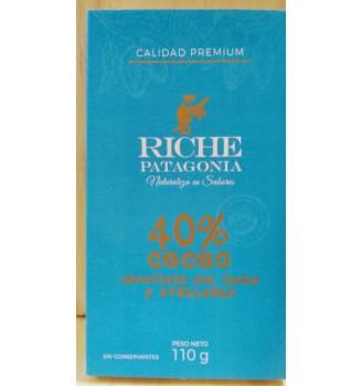 RICHE CHOCOLATE 40% CON LECHE Y AVELLANA 110GRS